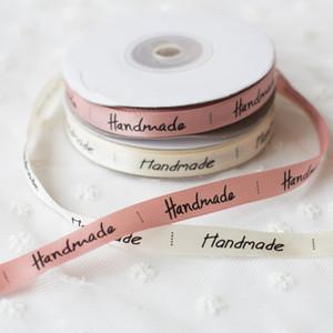 Favor de partido boda de la cinta hecha a mano 25yards color crema rosa de envolver la cinta de seda satinada caja de regalo caja de la torta de la cinta de embalaje