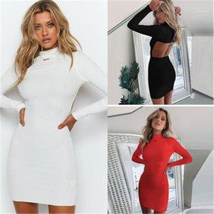 Abito femminile casuale solido di colore alto collo Vestito aderente signore Backless sexy Fashion Trend manica lunga Glutei Short Skirt Designer