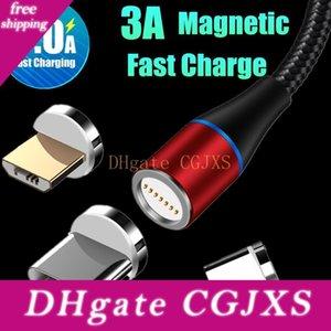 3a Schnelllade Magnetic USB-Kabel 3 in 1 Tpye C Mikrokabel 1m 2m Led Nylon Geflochtene Charger Data Line