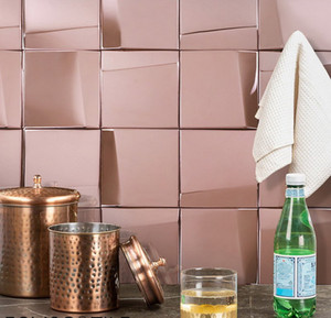 Luxury rose gold big square metail kitchen mosaic tile for living room sower room KTV deco