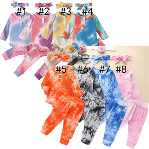 Tie-dye Designers Kids Clothes Baby Long Sleeve Hoodie Sweaters Jumpsuits Pants Headbands three Piece Set Autumn Children Rompers New D82505