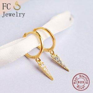 Hoop & Huggie FC Jewelry 925 Silver Gold Italy Pizza Zirconia Earring For Women Ear Piercing Boucle Doreille Accessories 2021