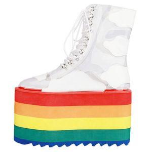 Regenbogen-Frau Stiefel hohe Plattform-Heels kurze Stiefel Diskothek Kuchen Bottom Damenschuhe starke alleinige transparente PVC-Booties