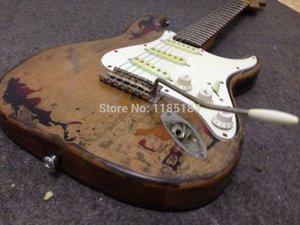 Personalizzato Caster nuovo stile di alta qualità fatto a mano RELIQUIA Distressed ST chitarra elettrica Faded Effetto j77M #