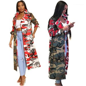 Color Lapel Neck Long Coats with Sashes Street Style Women Outerwear Camouflage Women Trench Coats Fashion Contrast