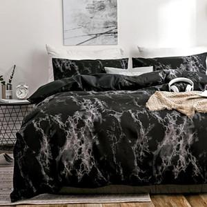 30 2 3pcs bedding set printed marble bed sets white black Duvet Cover European size King Queen Quilt Cover Comforter