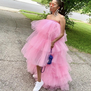 Trendy Baby Pink High Low Party Dresses Cheap Tulle Skirts Elastic Waist Ruffle Tiered Women Tutu Skirt Cocktail Prom Dresses Tulle Skirt