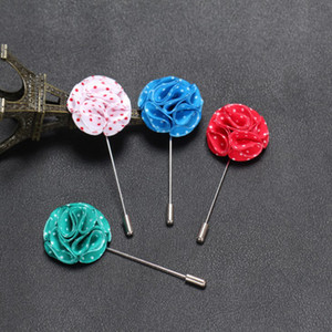 New fashion men brooch flower lapel pin suit boutonniere fabric yarn pin 12 colors button dot flower brooch for women jewelry