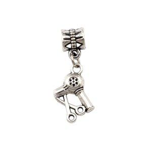 Caldo ! 50pcs Antique Silver Scissors phon Hair Stylist ciondola i braccialetti incanto europeo d'argento 31 x 15 mm Gioielli fai da te