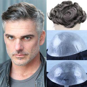 Adam için Dayanıklı Peruklar Kahverengi Karışık Gri İnsan Remy Saç Cilt PU İnce PU Doğal Erkekler Toupee Hairpieces Değiştirme Sistemi