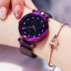 Top Brand Starry Sky Wrist Watch For Women Rose Gold Mesh Magnetic Band Quartz Wristwatch Gradient Ladies Watch relogio feminino