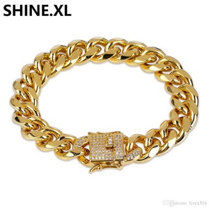 18K Real Gold Color Plated Miami Cuban Bracelet Hip Hop Iced Out Cubic Zircon 8Inch Link Bracelets Men Jewelry