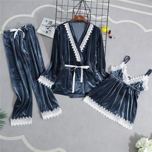 Kadife Kadın Ev Giyim Pijama 3`lü Kayış En Pantolon Suit pijamalar Gecelik Seksi Kimono Uyku Robe Banyo Elbise ayarlar