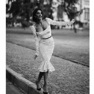 polka d'automne de femmes noires à manches longues dot bureau mince avec une robe en queue de poisson collier de mot (sans ceinture) Y200103 collr fishtil o XDb3 #