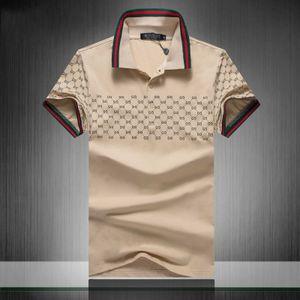 Polo de la medusa camiseta a rayas de los hombres de la serpiente Boros abeja Carta impresión de la camisa de manga corta polo de la manera de los hombres de bordado