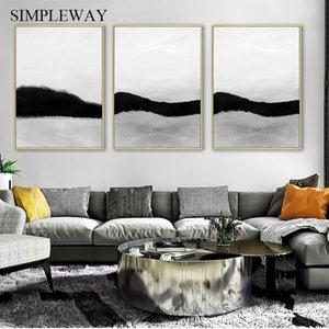 Negro abstracto en blanco carteles e impresiones moderno minimalista pared del arte de la lona Pintura cuadro de la pared de la sala de estar decoración del hogar