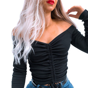 Mujeres camisetas sexy y club moda camiseta femenina manga larga fuera del hombro color sólido dama tshirt otoño básico camisetas 2020