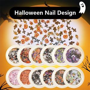Nail Art de Halloween etiqueta engomada del clavo diseños del cráneo Castillo calabaza del fantasma de la bruja Festival de Cosplay del palo 3D manicura rebanada de lentejuelas para los clavos