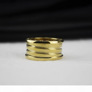 Elasticity Titanium Steel Wide Rings for men Charms Spring Ring Fine Wedding 18k gold Jewelry