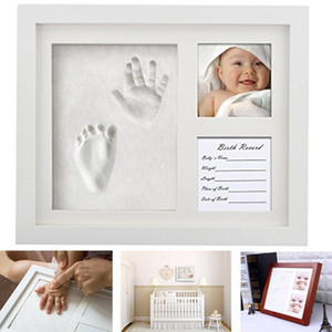 3 part Wooden Baby Care Non-Toxic Baby Photo frame DIY Handprint Footprint Imprint Kit Baby Souvenirs Casting Print Newborn C0927