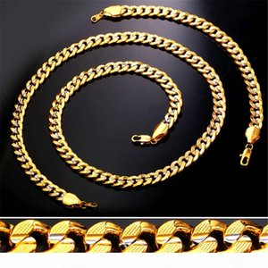 9MM Gold Chain for Men Women Platinum 18K Gold Plated Two Tone Gold Curb Chain Necklace Bracelet Set