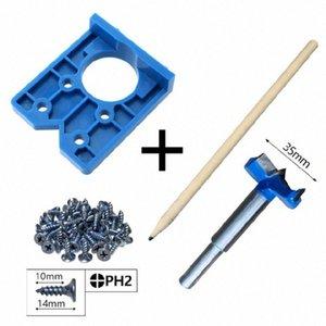 35 mm Bisagra plantilla Conjunto ABS Guía de instalación rápida de madera Taladro Bisagra Agujero Boring Tool X6HC Ykgb #