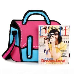 Designer-Wholesale-3D-Jump-Art 2D-Zeichnung von Cartoon Paper Bag Comic Messenger Bag 4 Farben