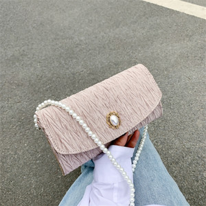 Socialite cross shoulder dinner women's handbag new casual pleated pearl chain bag