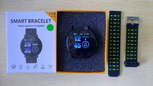 119 Presión pulsera inteligente Plus SmartBand con sangre del ritmo cardíaco de color de pantalla a prueba de agua inteligente el WristBand reloj del deporte del rastreador de ejercicios de DHL