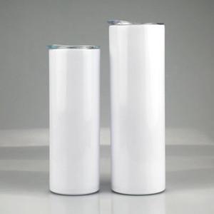 20 oz 30 oz Sublimation maigre Tumbler tasse à café en acier inoxydable isolé vin Tumbler Avec Straws vide Coupe Blanc Sea Shipping DDA472