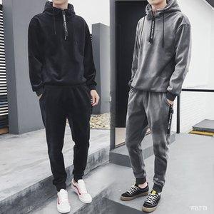 2020 de oro de terciopelo Ocio Deportes Traje Otoño Invierno Bodywear de felpa de Jóvenes Estudiantes de espesamiento de los hombres de dos piezas sudaderas