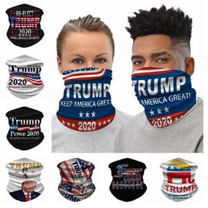 Trump Велоспорт Маска 3D Printed Магия оголовье Trump 2020 Полиэстер Велоспорт шарфы Trump Банданы 25 * 50см CCA12495 60pcs