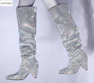 2020 nuova signora punto tep stivali lunghi Diamond Stud coscia stivali donne RhineStone stivaletti sopra ginocchio mujer botas picco tallone