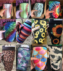 Neoprene Ice Mug Sleeve for 30oz Tumbler Cup Water Bottle Covers Bag Cases Pouch with Handle Leopard Rainbow Striped Sunflower Cactus D81907