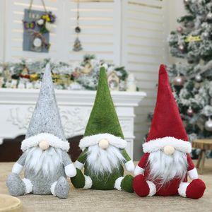 16*31cm Merry Christmas Long Hat Sitting Swedish Santa Gnome Plush Doll Ornaments Handmade Elf Toy Holiday Home Party Decor