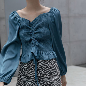 Solid Color Satin Women Blouse Elasticity Slim Sexy Square Neck Long Lantern Sleeve Tops Vintage Ruffle Shirring Female Cloth