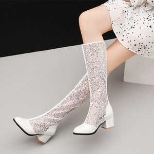 size34-45Women Shoes Summer Tendency Knee-High Heels Network Sandals Boots Patchwork Mesh Sandal Boots Fashion Sexy Party Shoes