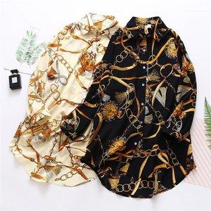 Shirt Summer Designer Print Long Sleeve Lapel Neck Fashion Clothing Casual Loose Famale Shirt Womens Chiffon Sunscreen