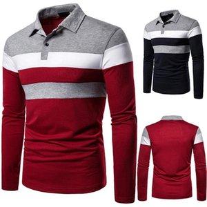 2020 осень Повседневная Мужчины с длинным рукавом Turn Down Воротник Stripes цвет блока кнопок рубашка блузка