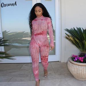 OrangeA выдалбливают два кусок набора женщин полного рукав Bodysuit + брюки эластичной высоты мода сексуальной орто-шеи одежды тощей тонкий фитнес T200817