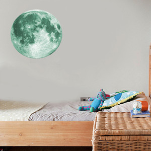 30cm Luminous Moon 3D Wall Sticker for kids room living room bedroom decoration home decals Glow in the dark Wall Stickers.#ert