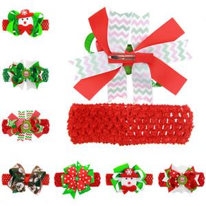 Kinder-Haarnadel Christmas Santa 4.5cm Bögen Spangen mit Stirnbänder Art und Weise Karikatur Haarspange + Stirnband-Baby-Dual-Use-Kopfschmuck D82805