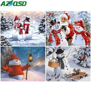 AZQSD Pintura pelo Número DIY do boneco de neve de Natal pintura da lona Kits Wall Art Coloring By Numbers Paisagem pintado à mão do presente