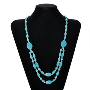 Jiasha neues Zubehör beliebte Türkis Doppelschicht reizend Frauen Halskette JSN810