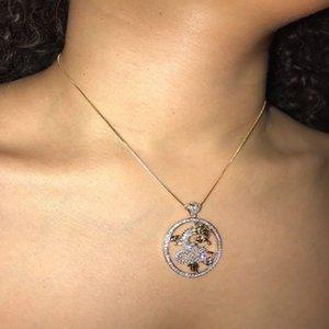 Kadınlar Kızlar Hediyesi için ALYXUY Moda Vintage Altın Zincir Kolye Yuvarlak Ejderha Kristal Uğurlu Takı Minimalizm Aksesuar