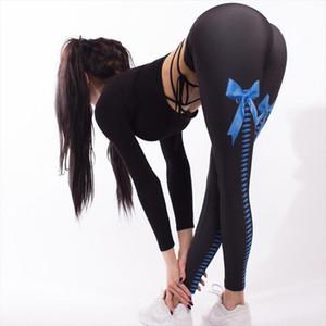 Imprimir Bow Knot Digital Leggings Sexy Hip Lápis Calças de cintura alta Elastic Fino calças compridas Sexy Pant Mulheres Leggings