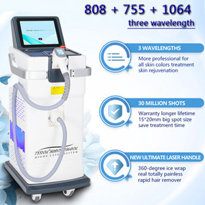 Latest technology 755nm 808nm 1064nm Diode Laser Fast Hair Remover Triple Wave 1064nm 30 millions Big power