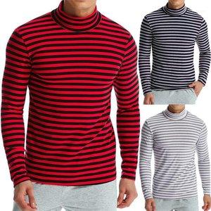 Doğal Renk Tshirts Casual Standı Yaka Uzun Kollu Erkek Tees Erkek tişörtleri Moda Çizgili panelli Render