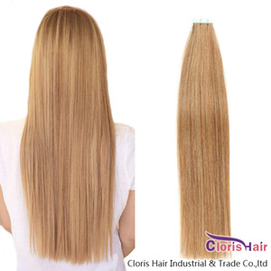 Straight PU Skin Weft Adhesive Remy Hair #12 Light Golden Brown Tape In Natural Human Hair Extensions 20pcs Seamless Double Sided Tape