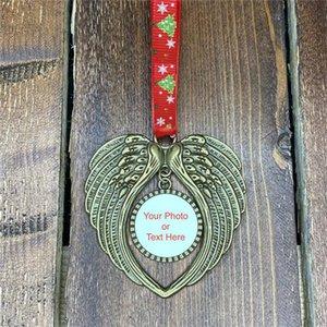 Sublimation Boule de Noël Décorations de bricolage Ailes d'ange Forme Blank Ajoutez votre propre image et d'arrière-Charms Noël Pendent Nouveau F92401